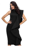 Black Bodycon Sleeveless Turtleneck Ruffles Dress