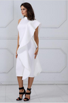 White Bodycon Sleeveless Turtleneck Ruffles Dress
