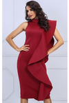 Red Bodycon Sleeveless Turtleneck Ruffles Dress