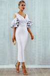 White Midi Bodycon Dress Ruffle Butterfly Sleeve