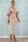 Apricot Midi Bodycon Dress Ruffle Butterfly Sleeve