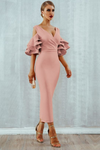 Pink Midi Bodycon Dress Ruffle Butterfly Sleeve