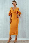 Mustard Midi Bodycon Dress Ruffle Butterfly Sleeve