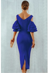 Blue Midi Bodycon Dress Ruffle Butterfly Sleeve