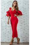Red Midi Bodycon Dress Ruffle Butterfly Sleeve