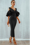 Black Midi Bodycon Dress Ruffle Butterfly Sleeve