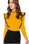 Yellow Ruffle Trim Keyhole Back Long Sleeve Top