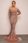 Silver Long Off Shoulder Sequin Dress
