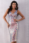 Multicolor Sequin Deep V Neck Sleeveless Dress