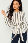 Belted Striped Long Sleeve Blouse