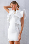 White Bodycon Tassel Sleeveless Ruffles Dress