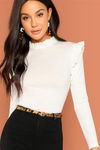 White Frill Trim Stand Collar Long Sleeve Top