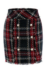 Tweed High Waist Mini Plaid Skirt