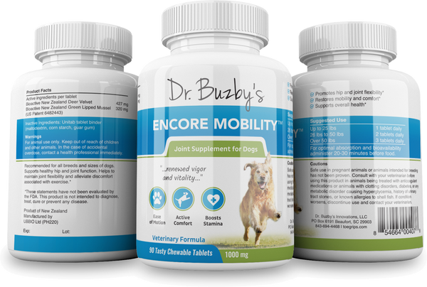 Dr. Buzby's Encore Mobility™ Deer Velvet & Green Lipped Mussel Joint Supplement for Senior Dogs (90 Count)