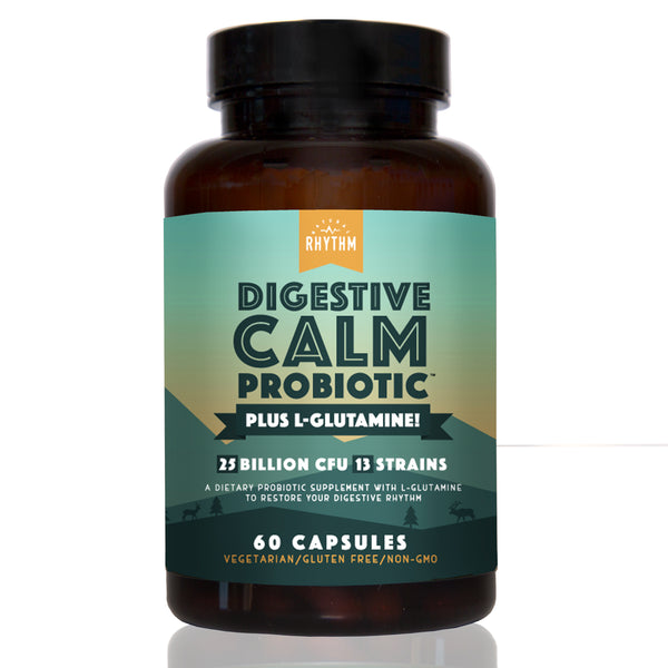 Digestive Calm Probiotic (Plus L-Glutamine) - 25 Billion CFU 13 Unique Strains - Natural Support for Better Digestion - for Bloating & Constipation + Gas Relief & Leaky Gut - 60 Vegetarian Capsules