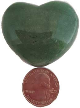 Aventurine, Green Heart,1 3/4""