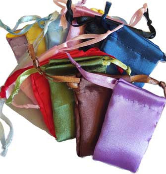 "Satin pouches mixed colors,12 pk 1 3/4"" x 2"""