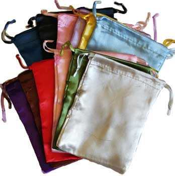 "Satin pouches mixed colors,12 pk 5"" x 6"""