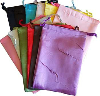 "Satin pouches mixed colors,12 pk 6"" x 8"""