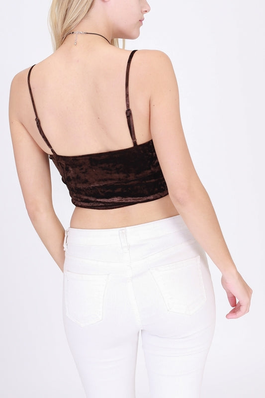 Velvet Bralette Top- Chocolate