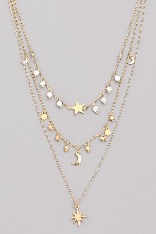 Layered Moon & Star Pendant Necklace- White