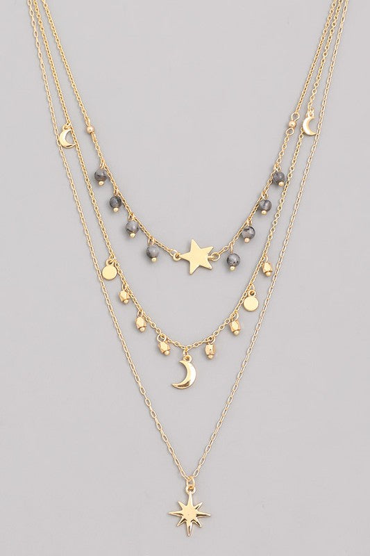 Layered Moon & Star Pendant Necklace- Grey