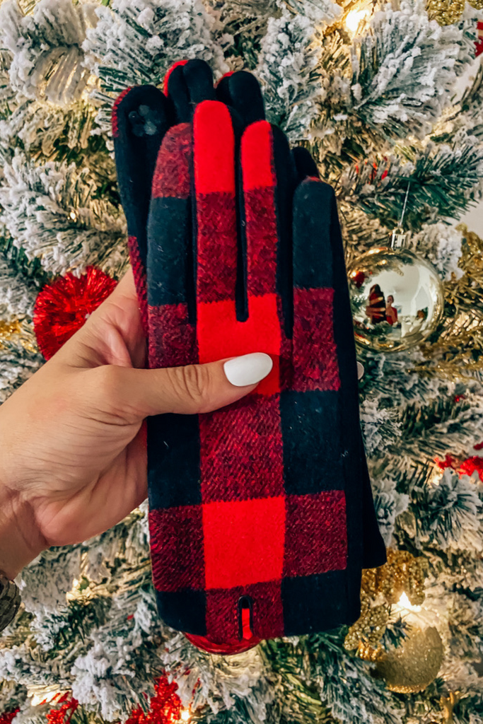 Buffalo Plaid Gloves- Red