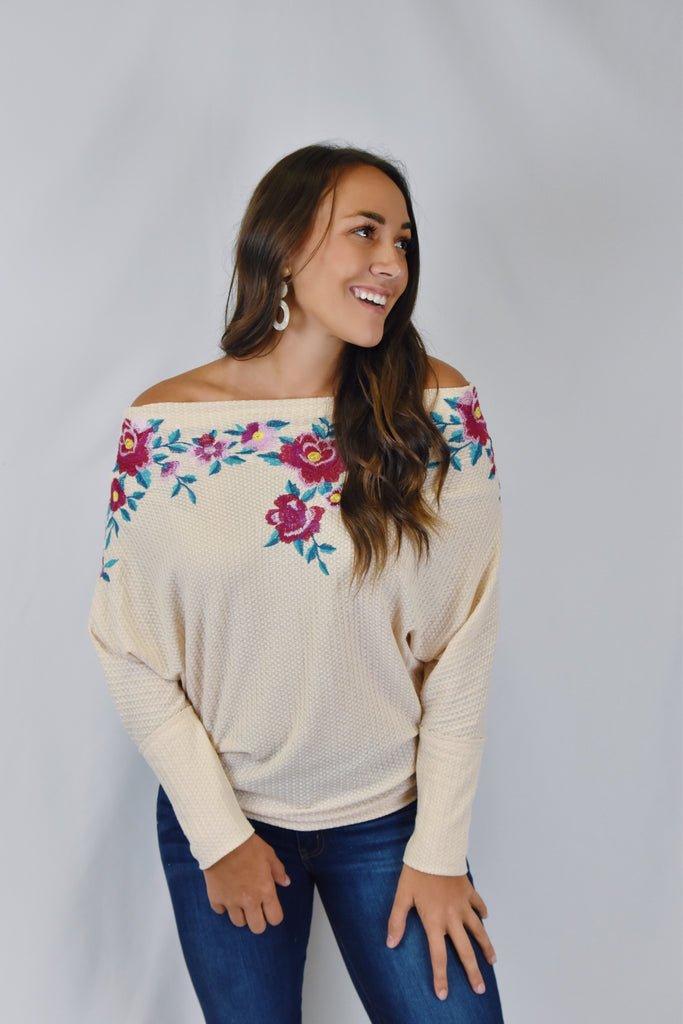 Noelle Floral Embroidered Top- Oatmeal