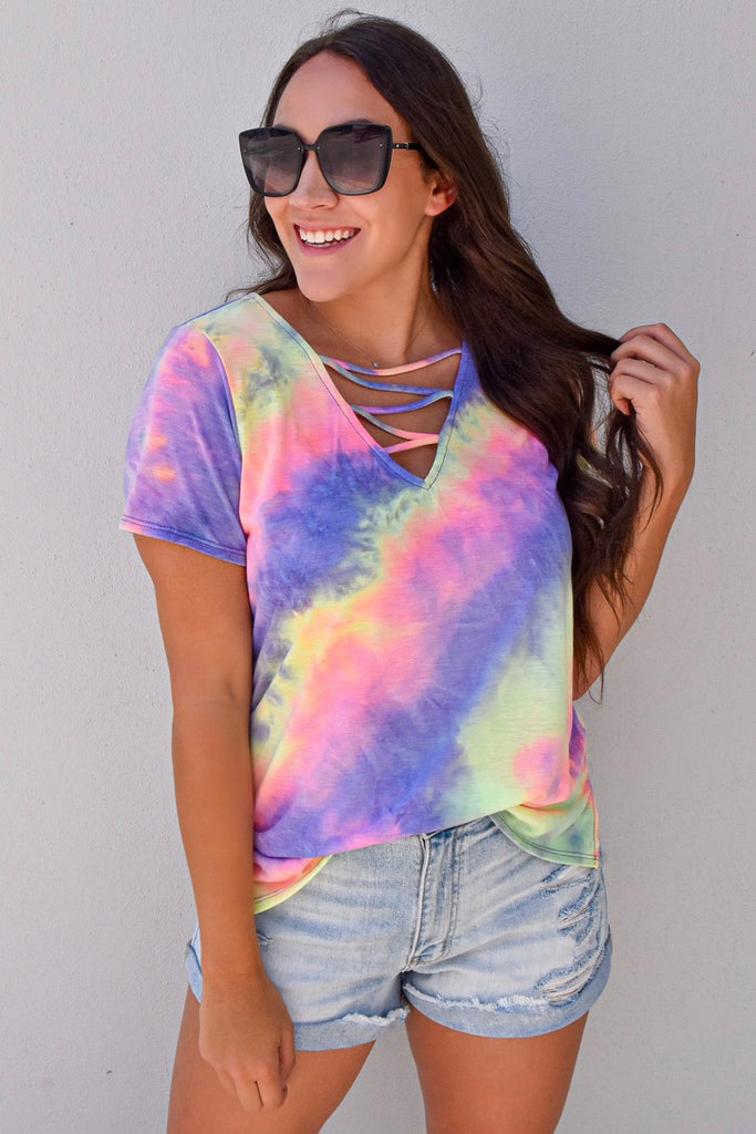 Crossed Lovers Tie Dye Top- Purple & Lime