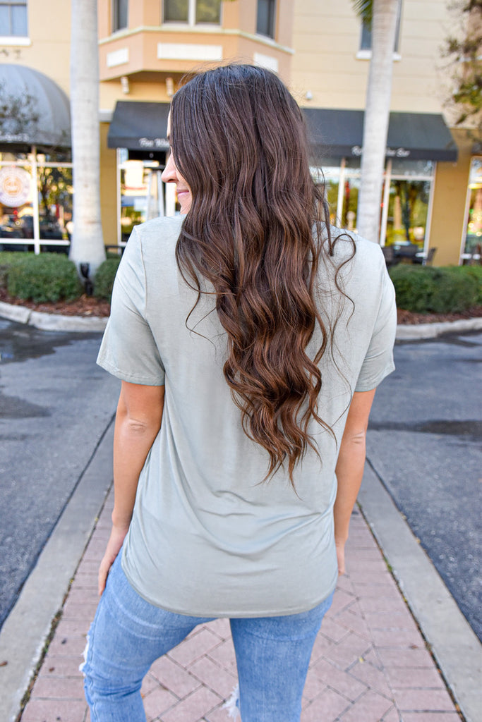 Emilie Pocket Tee- Dusty Mint
