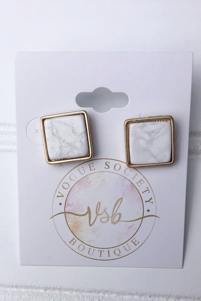 Gold & White Marble Earrings- Square