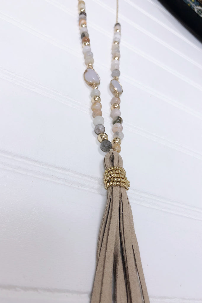 Beaded Suede Tassel Necklace