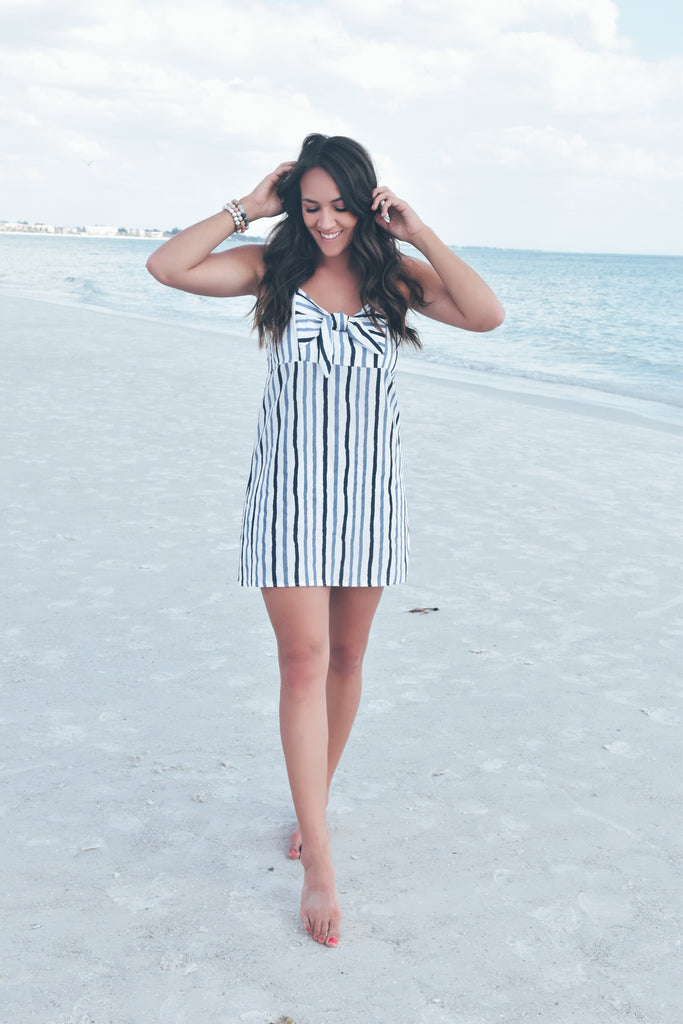 The Katie Striped Dress- Blue