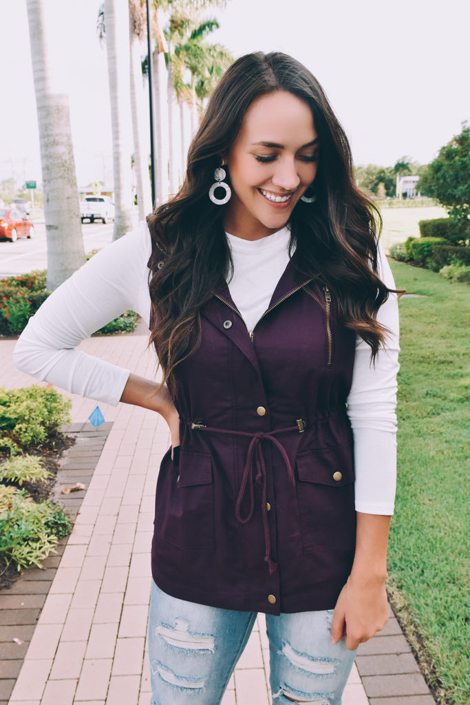 Dark Purple Military Vest
