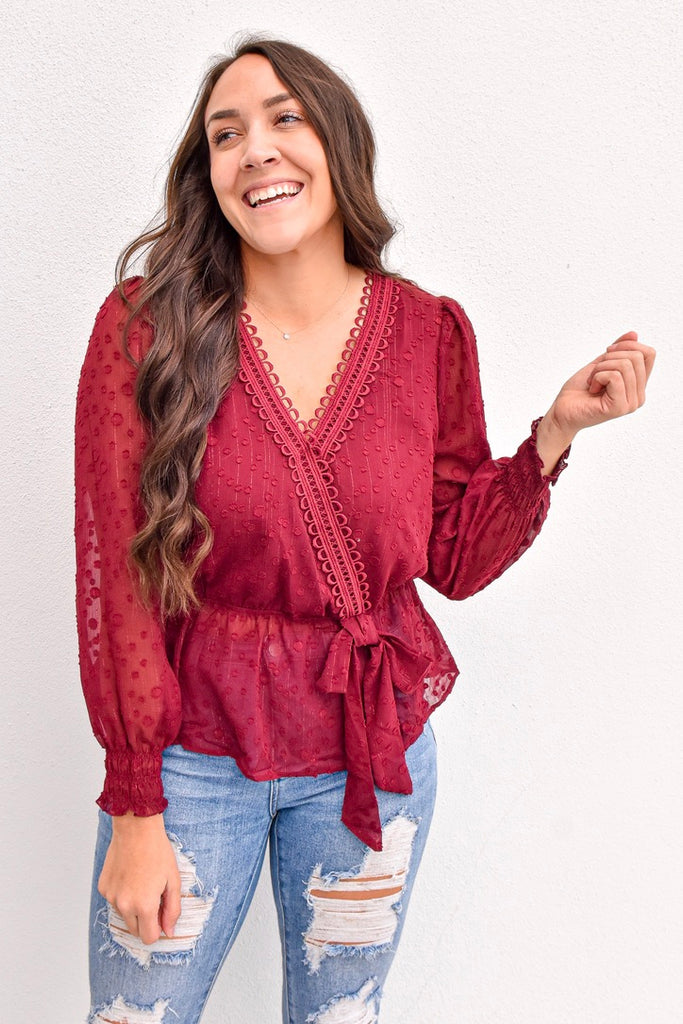 Cabernet Holiday Wrap Top