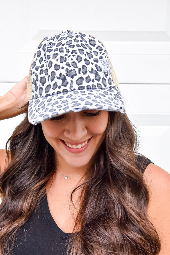 Criss Cross Pony Hat- Grey Leopard - Vogue Society