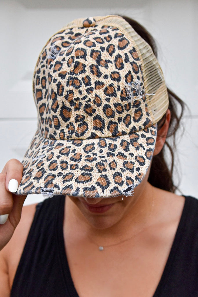 Criss Cross Pony Hat- Leopard - Vogue Society