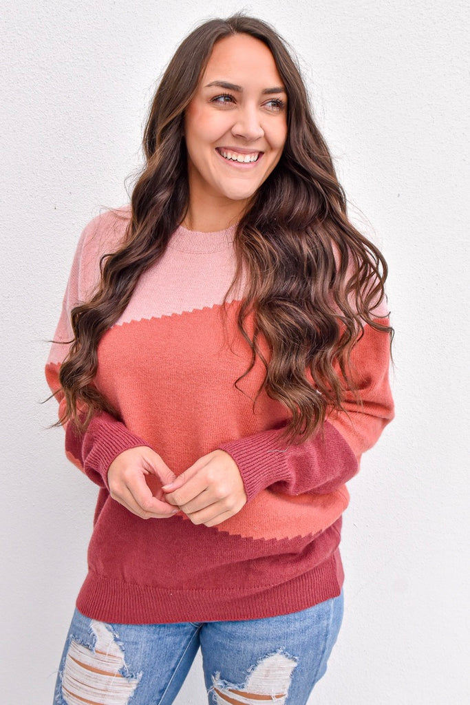 Sweet Berry Colorblock Sweater