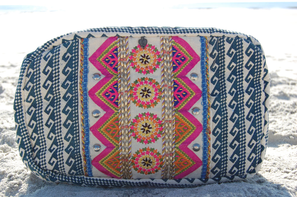 Blue Bohemian Print Make-Up Bag
