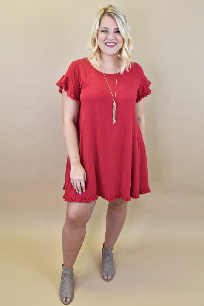 Jester Red Linen Dress with Pockets