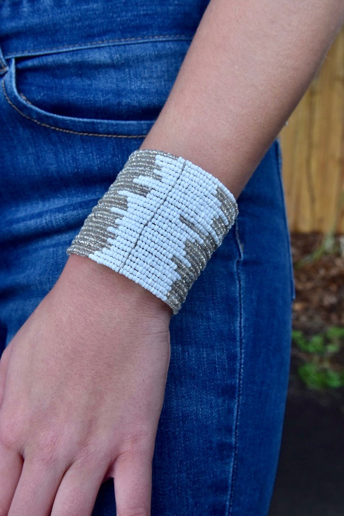 Two Tone White & Clear Cuff