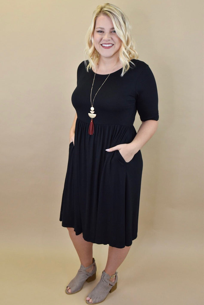 Black Half Sleeve Essentials Dress