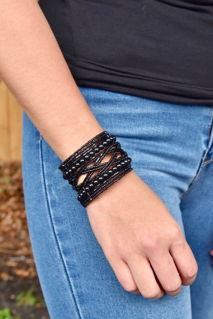 The Black Open Bead Cuff