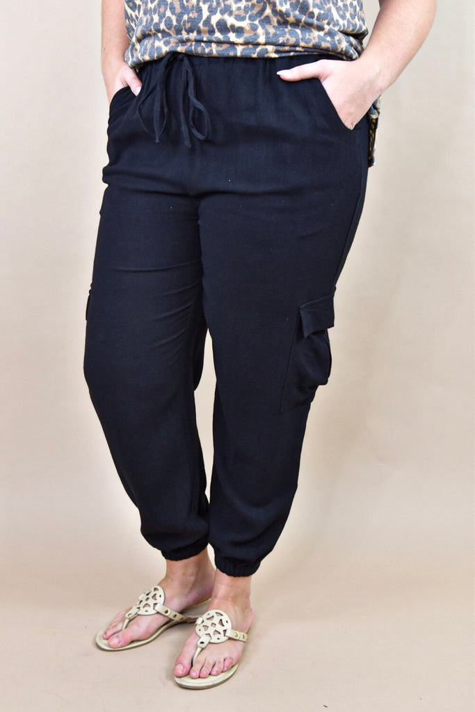 Janie High Waisted Jogger Pant- Black