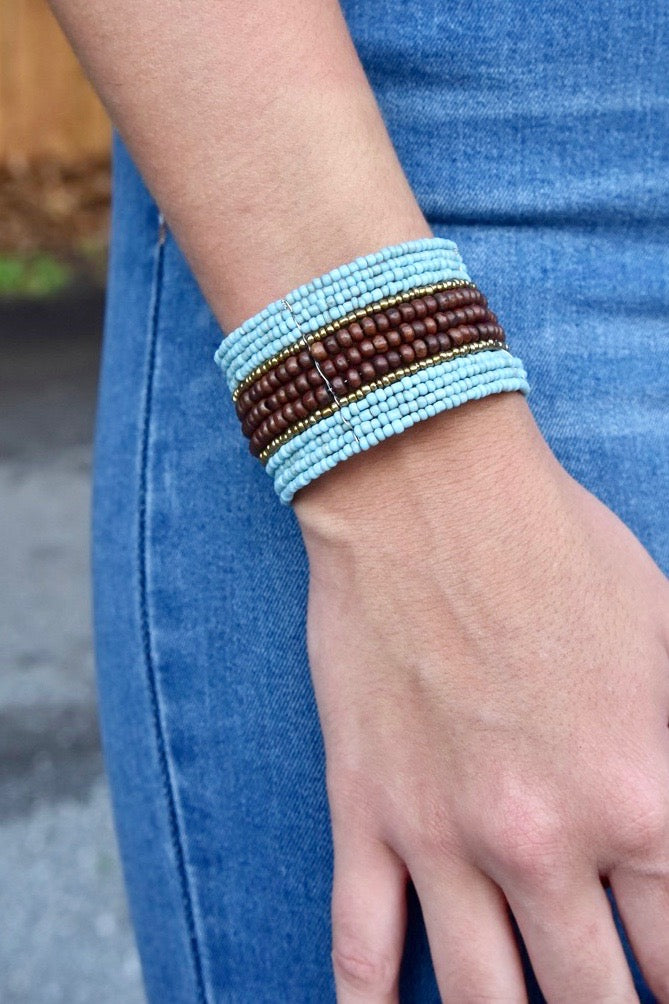 Mini Wood Center Beaded Cuff- Aqua