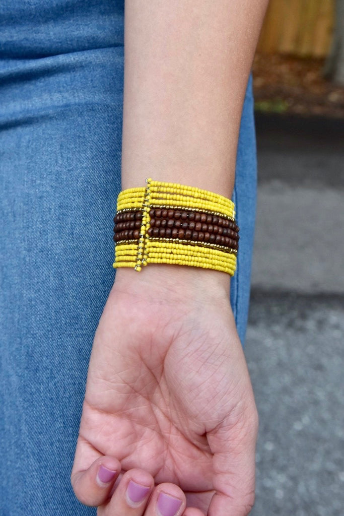 Mini Wood Center Beaded Cuff- Yellow