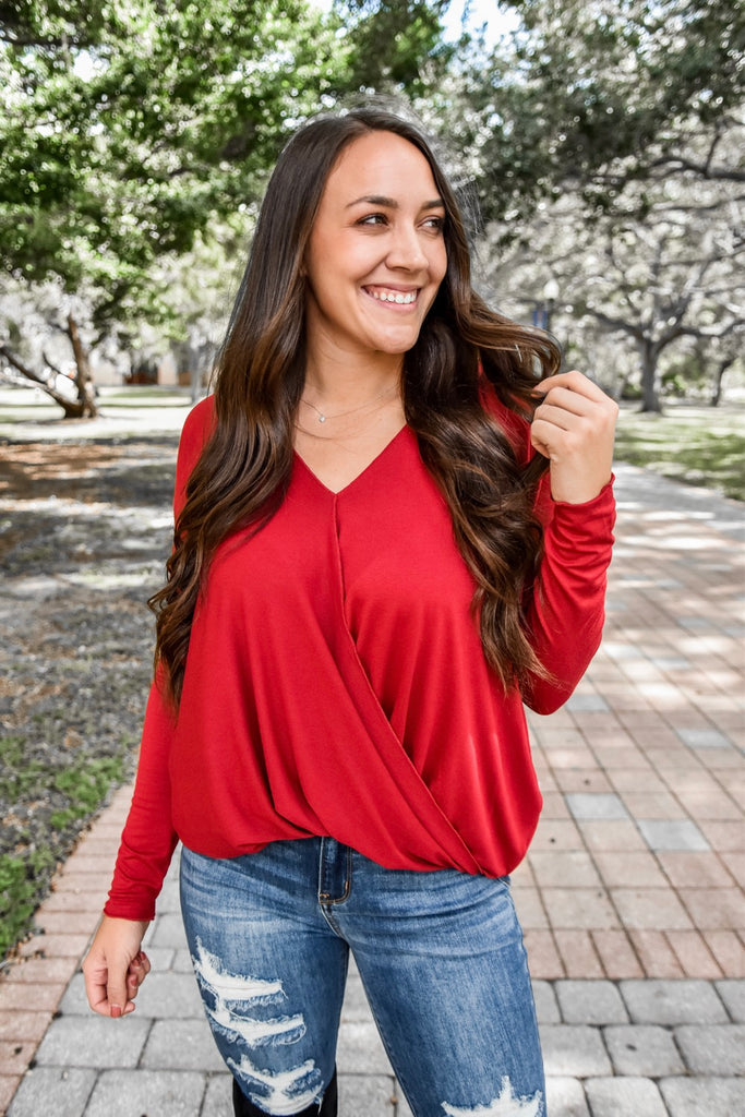 Jingle Bell Red Crossover Top