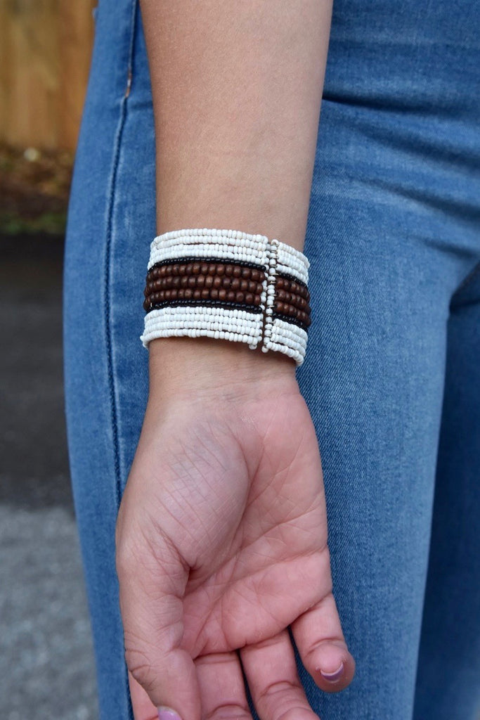 Mini Wood Center Beaded Cuff- White