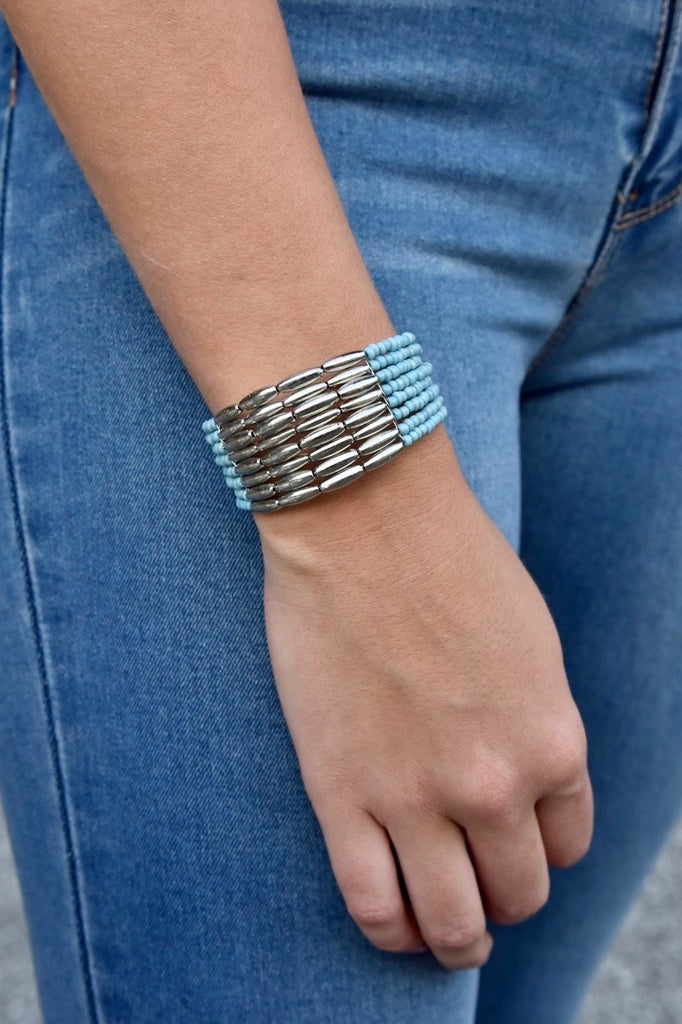 The Mini Blue & Silver Beaded Cuff