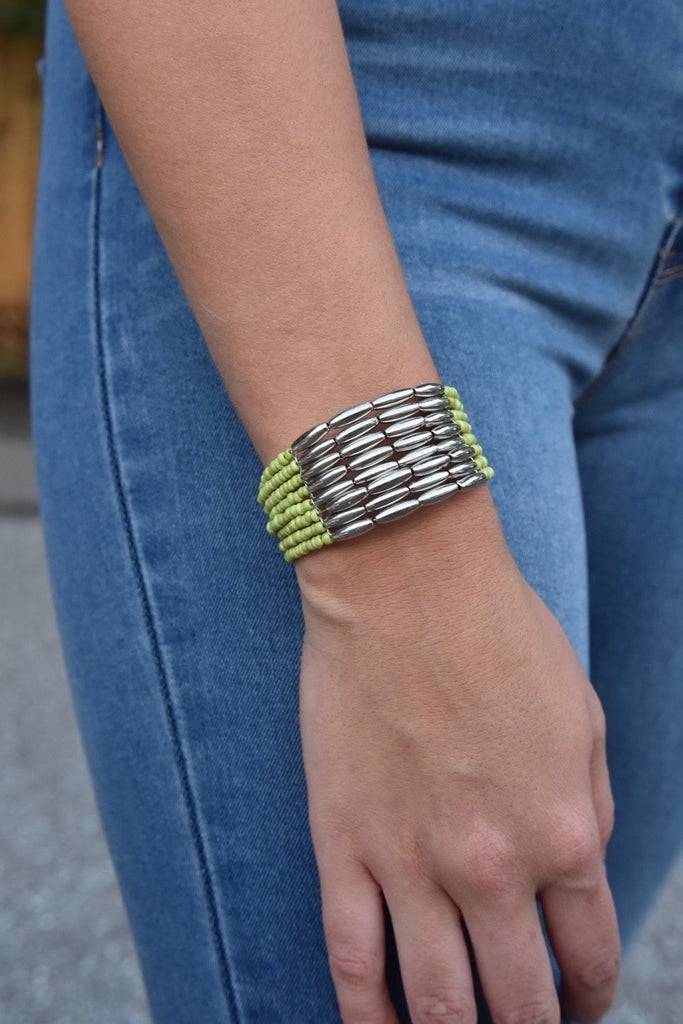 The Mini Green & Silver Beaded Cuff